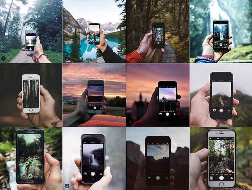 Okostelefon kijelzője a természetben, fotózás közben.