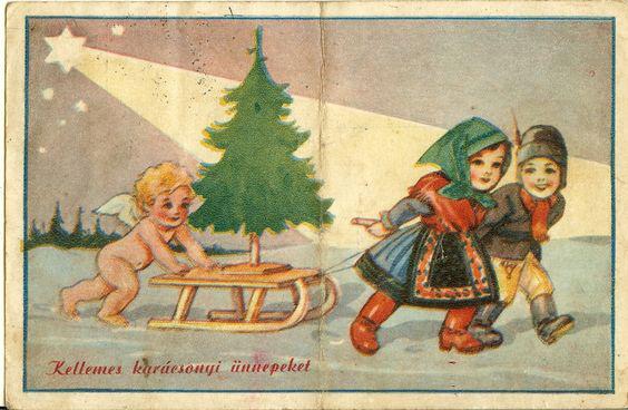 A mosolygós gyerekeknek egy pucér angyal segít tolni a szánt, egy fényes csillag pedig mutatja az utat. Bibliai utalásnak is értelmezhető ez a lap.