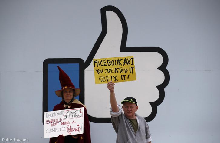 A Dühöngő Nagyik csoport aktivistái tüntetnek a Facebook székháza előtt, 2018 áprilisában