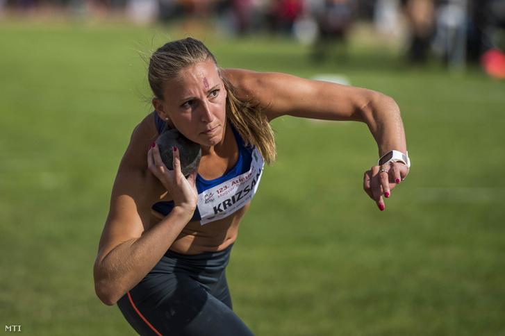 Krizsán Xénia a 123. atlétikai országos bajnokság női súlylökés versenyszámának döntőjében Székesfehérváron 2018. június 23-án.