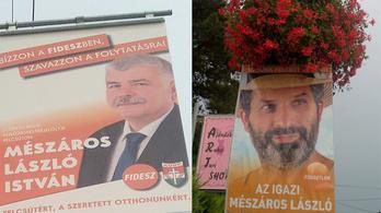 A Kétfarkú a Fidesz-jelölt neve mellett a narancsos plakátot is lemásolta