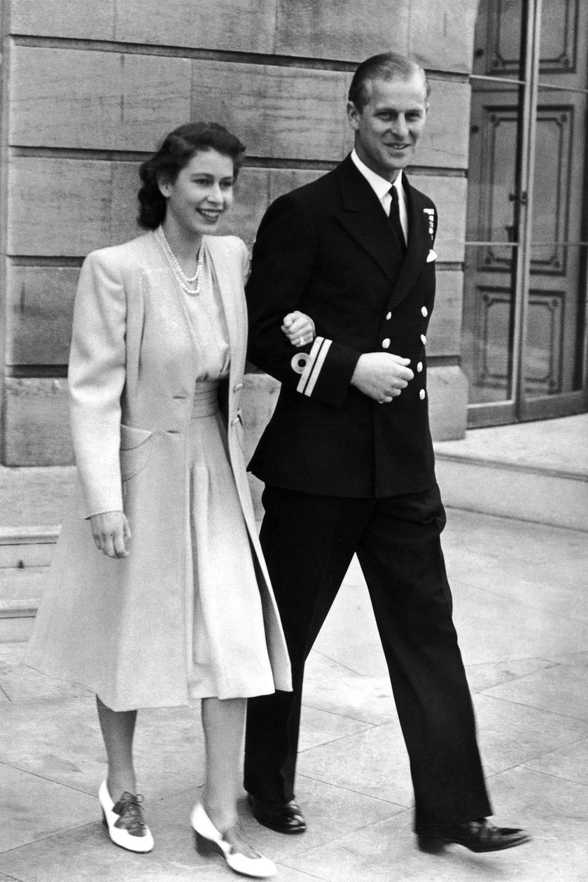 Erzsébet és Fülöp nem sokkal az eljegyzésük után, 1947-ben.