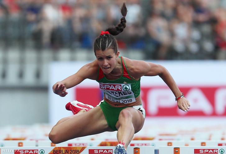 Kerekes Gréta a nõi 100 méteres gátfutás elõfutamában a berlini atlétikai Európa-bajnokságon 2018. augusztus 8-án.