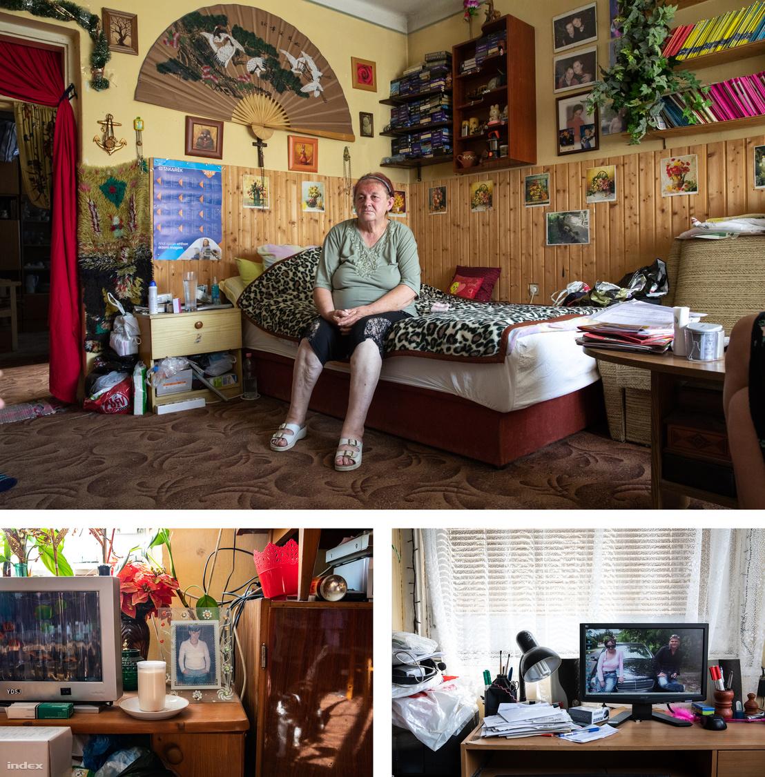"""""""Ne haragudjanak a zsúfoltságért, az egész életemet ebbe szobába kellett költöztetnem"""" – mondta nekünk Vera. Az asztalon lévő fotón és a számítógép háttérképén rákban elhunyt lánya látható."""