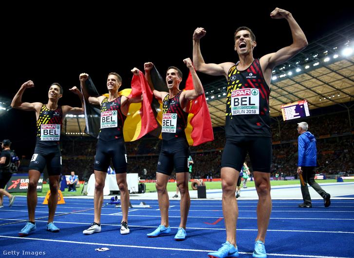 A belga váltó 4x400-on nyert Eb-aranyt, három testvér, Dylan, Jonathan és Kevin Borlée egy csapatban, abal szélen a negyedik tag, Jonathan Sacoor