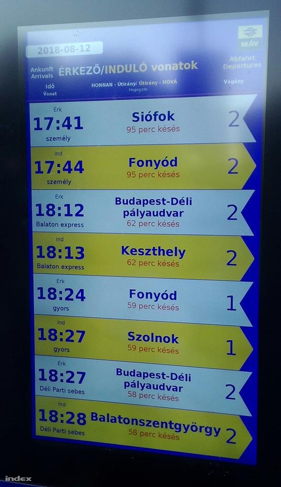 Információs tábla a Déli pályaudvaron