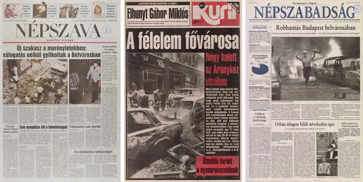 Újságcímlapok az Aranykéz utcai merénylet másnapján