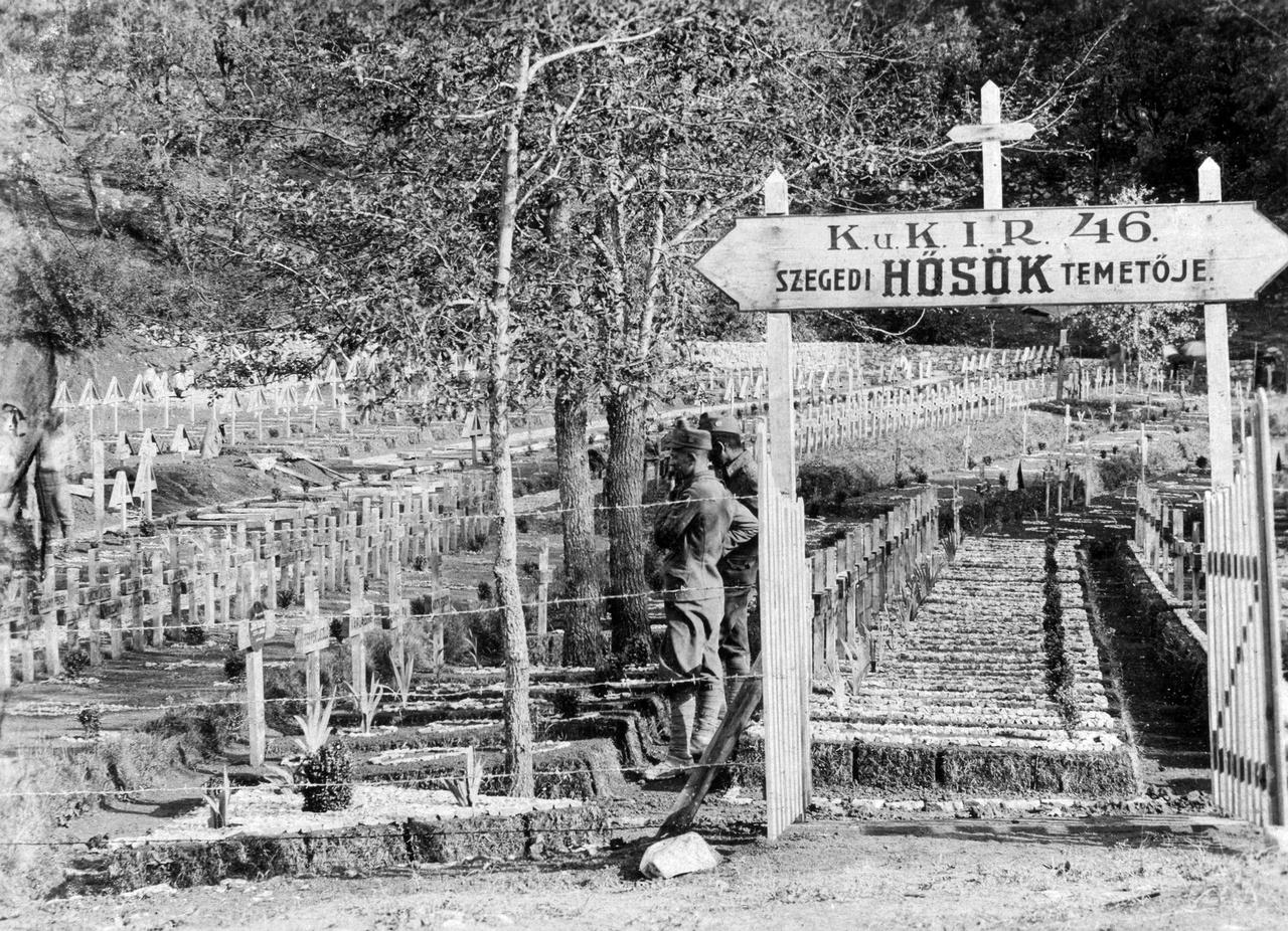"""Sírhantok katonás rendben az első világháborúban harcolt cs. és kir. szegedi 46. gyalogezred hősi temetőjében Kislippán (ma Szlovénia). A """"Nagy Háborúban"""" megsebesült, eltűnt, megbetegedett és hadifogságba esett dédpapa utáni kutatás  száz év távlatából sem reménytelen. A Hadtörténeti Intézet és Múzeum adatbázisában, a hadisir.hu-n eddig is lehetett keresni, de várhatóan 2018 novemberében elindul  egy minden eddiginél részletesebb adattár """"Magyar Katona Áldozatvállalása a Nagy Háborúban"""" néven. A cs. és kir. Hadügyminisztérium által szinte napi rendszerességgel kiadott veszteséglistákon (Verlustliste), a budapesti Hadtörténelmi Levéltárban, a bécsi Hadilevéltárban és a pozsonyi Hadtörténeti Levéltárban, valamint a Magyar Nemzeti Levéltár megyei tagintézményei által őrzött halotti anyakönyveken és temetőkatasztereken alapuló anyaga csaknem másfél millió adatsort tartalmaz majd."""