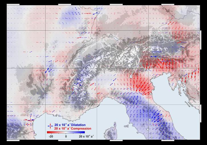 Az európai hegyvonulatok mozgását szemlélteti az ábra: a piros nyilak az összetorlódást, a kékek a tágulást mutatják