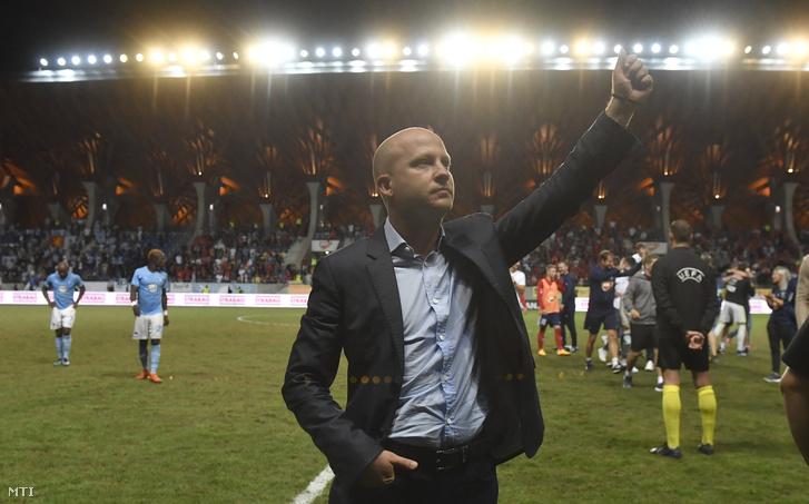 Marko Nikolic, a Vidi FC vezetőedzője a labdarúgó Bajnokok Ligája selejtezőjének 3. fordulójában játszott Vidi FC - Malmö visszavágó mérkőzés végén a felcsúti Pancho Arénában 2018. augusztus 14-én.