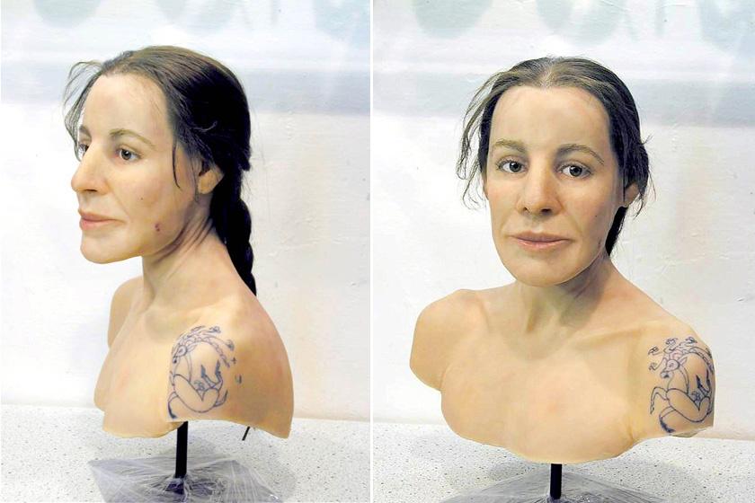A nő rekonstrukcióját is elkészítették a maradványok alapján.
