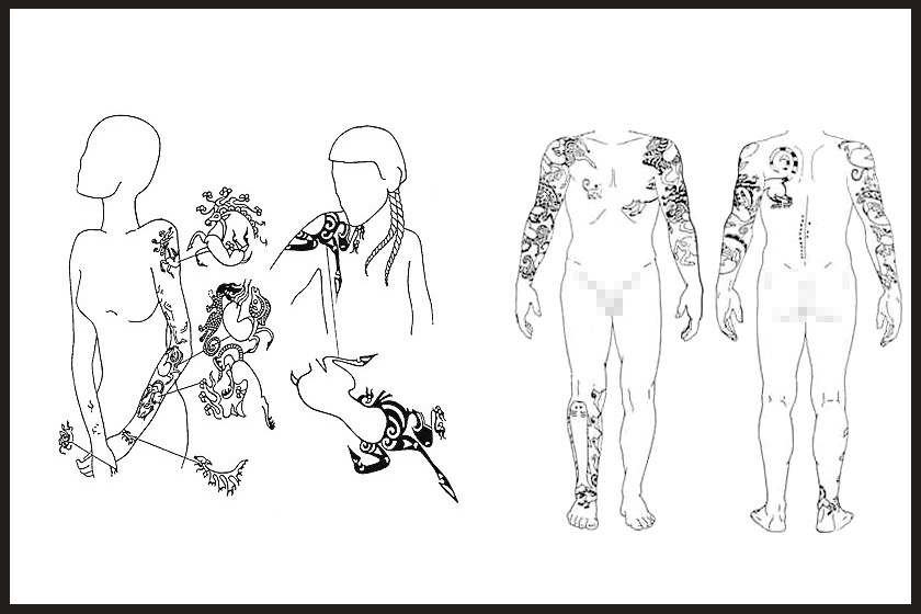 Balra a nő, jobbra a kísérő katonák tetoválásai.