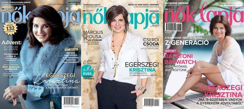 Egerszegi Krisztina a Nők Lapja 2017. novemberi, 2014. márciusi és 2012. augusztusi számának címlapján.