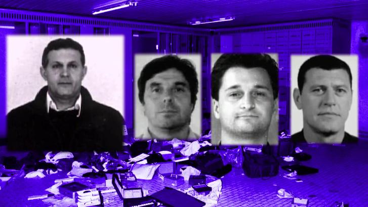 Az ötfős rablóbanda elkapott és lecsukott négy tagja (balról jobbra): Notarbartolo, Petro Tavano (Spuri), Elio D'Onorio (Lángész) és Ferdinando Finotto (Szörny)