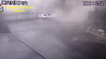 Genovai hídkatasztrófa: közzétették a biztonsági kamera felvételeit