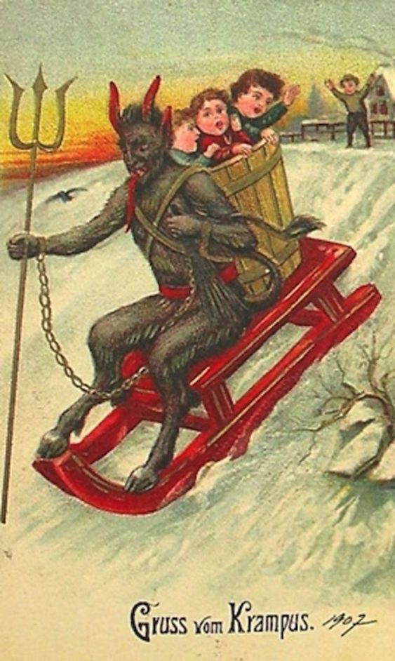 A gonosz krampusz ábrázolása antik képeslapon.