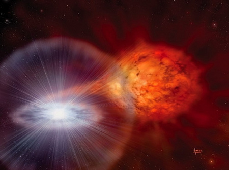 """Fantáziakép egy """"klasszikus"""" Ia szupernóva felrobbanásáról - úgy tűnik, a fehér törpék végső robbanásáról alkotott összkép jóval árnyaltabb, mint korábban gondoltuk (D. A. Hardy, astroart.org)."""