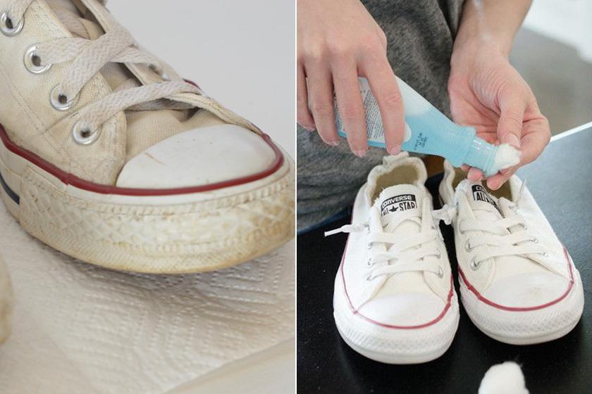 Ha besárgult, koszos lett a tornacipőd gumiból készült része, csak fogj egy acetonos körömlakklemosót, és vatta segítségével dörzsöld át vele alaposan. Kipróbáltuk, és tényleg hófehérré varázsolja.