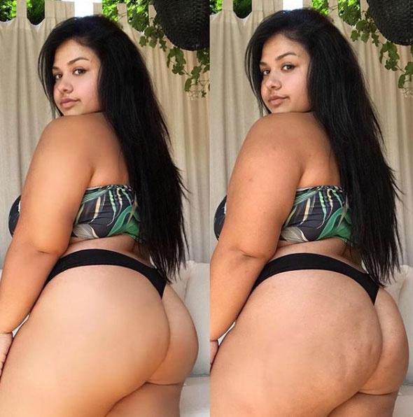 A bal oldalon a Photoshop-, jobb oldalon pedig az eredeti verzió látható. Sirokai Diána ezzel a montázzsal azt szerette volna üzenni, hogy minden nő fogadja el magát.