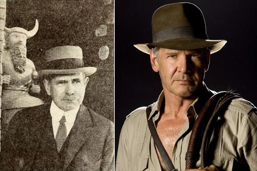 Edgar Banks és Harrison Ford Indiana Jones szerepében - a színész hasonlít karaktere ihletőjére.