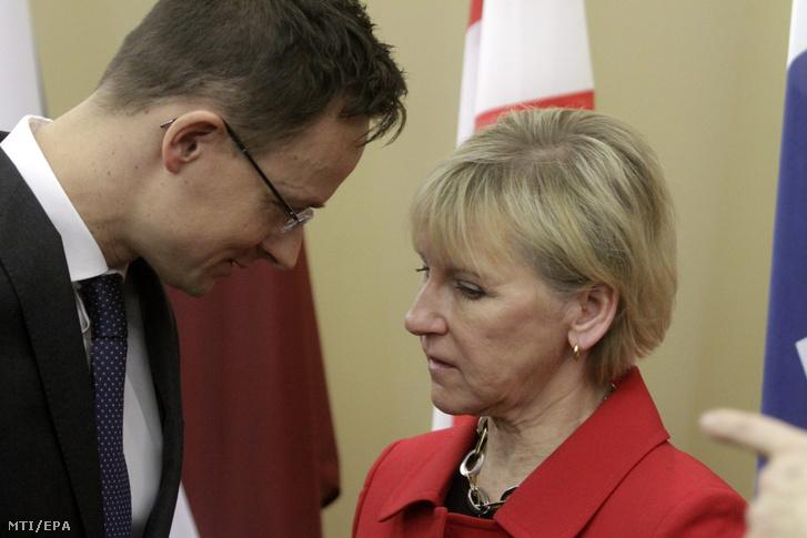 Szijjártó Péter külgazdasági és külügyminiszter és Margot Wallström svéd külügyminiszter