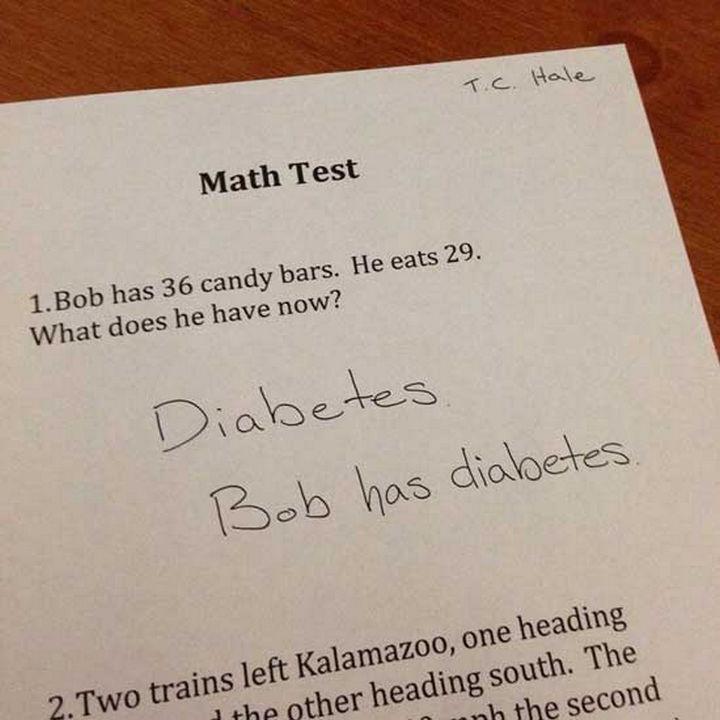 - Bobnak 36 cukorkája van, amiből megeszik 29-et. Mi marad neki így? - Cukorbetegség. Bobnak cukorbetegsége van.