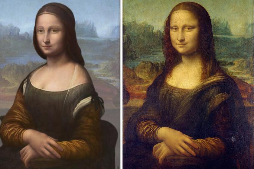 Balra az alsó portré, jobbra az ismert Mona Lisa.