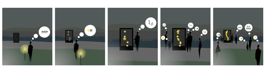 """A """"Tekerd fel a Dunát!"""" installáció tervezését vezérlő hívószak a DUNA és a KÖZÖSSÉG voltak. A Valyo kikötőbe tervezett elem napközben információs és dekorációs táblaként üzemel, a Duna vonalán át nézhetjük a helyszínt és akár egymást. Este azonban játékba hívja a parton szórakozókat! A sötétben nem látszódik egyértelműen a táblán rejlő folyó vonala, de amint annak oldalán lévő tekerőket használatba veszik, fokozatosan világosabb lesz a kép. A helyszínen jelenlévő közösség együttes tekerésének köszönhetően fogja fény kiadni a Duna rajzolatát, és lesz messzebbről is látható. Az alkotás kifejezi, hogy a Duna jelene és fejlesztése nem csak közös célunk, de egyben feladatunk is."""