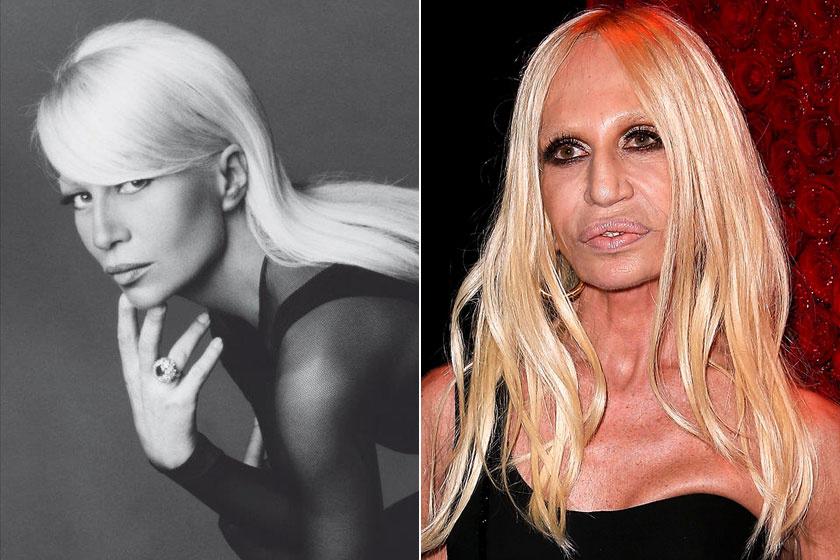 Donatella Versace, mielőtt még túlzásba vitte volna a plasztikát, nagyon fotogén volt. Ma már egyáltalán nem hasonlít a régi önmagára.
