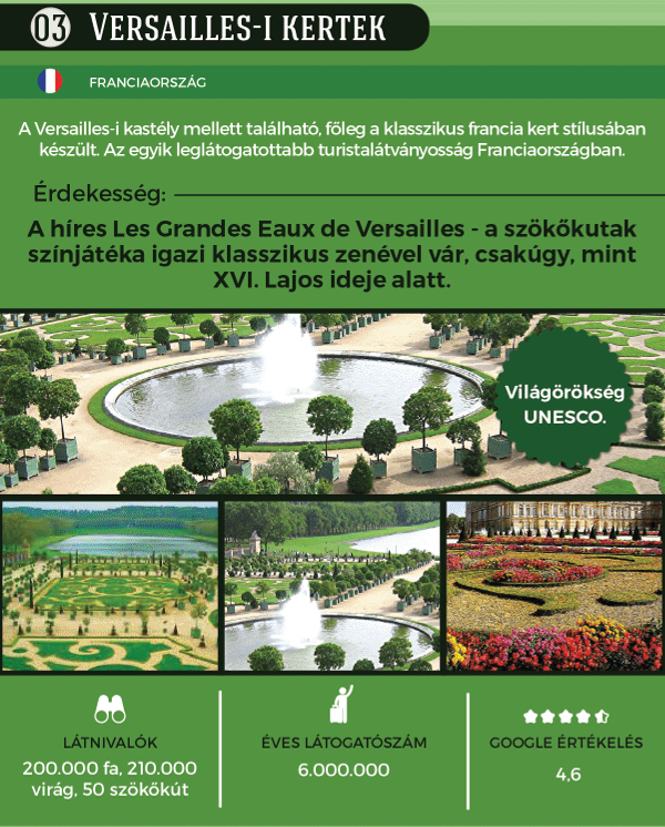 A Versailles-i kertek kihagyhatatlanok, ha a pompáról van szó