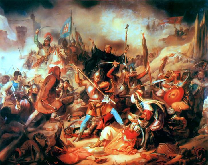 A nándorfehérvári csata, középen Kapisztrán György - ismeretlen festő képe