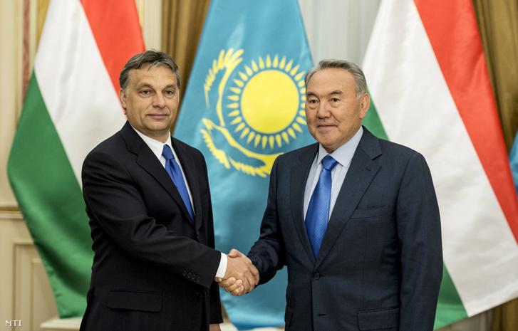 Orbán Viktor és Nurszultan Nazarbajev kazahsztáni elnök Asztanában 2012. május 4-én.