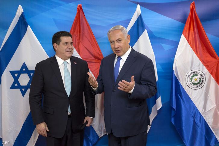 Horacio Cartes és Benjamin Netanjahu 2018. május 21-én