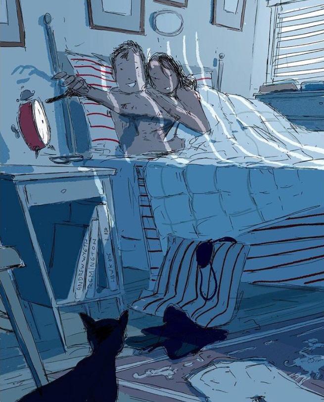Az ébresztő lenyomása utáni összebújás a fáradt reggelek fénypontja.