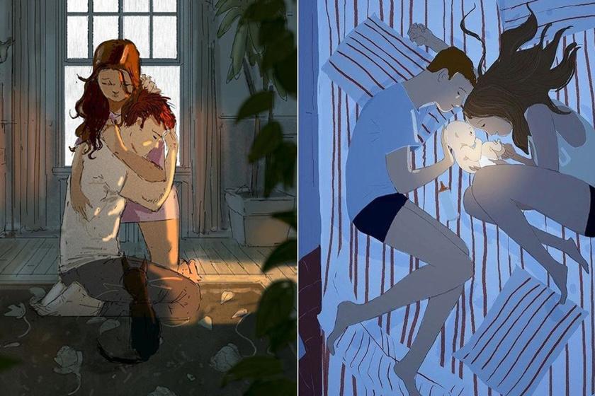 Semmiségnek tűnnek, de a legerősebb szerelmet mutatják - Őszinte rajzokon a párok legintimebb pillanatai