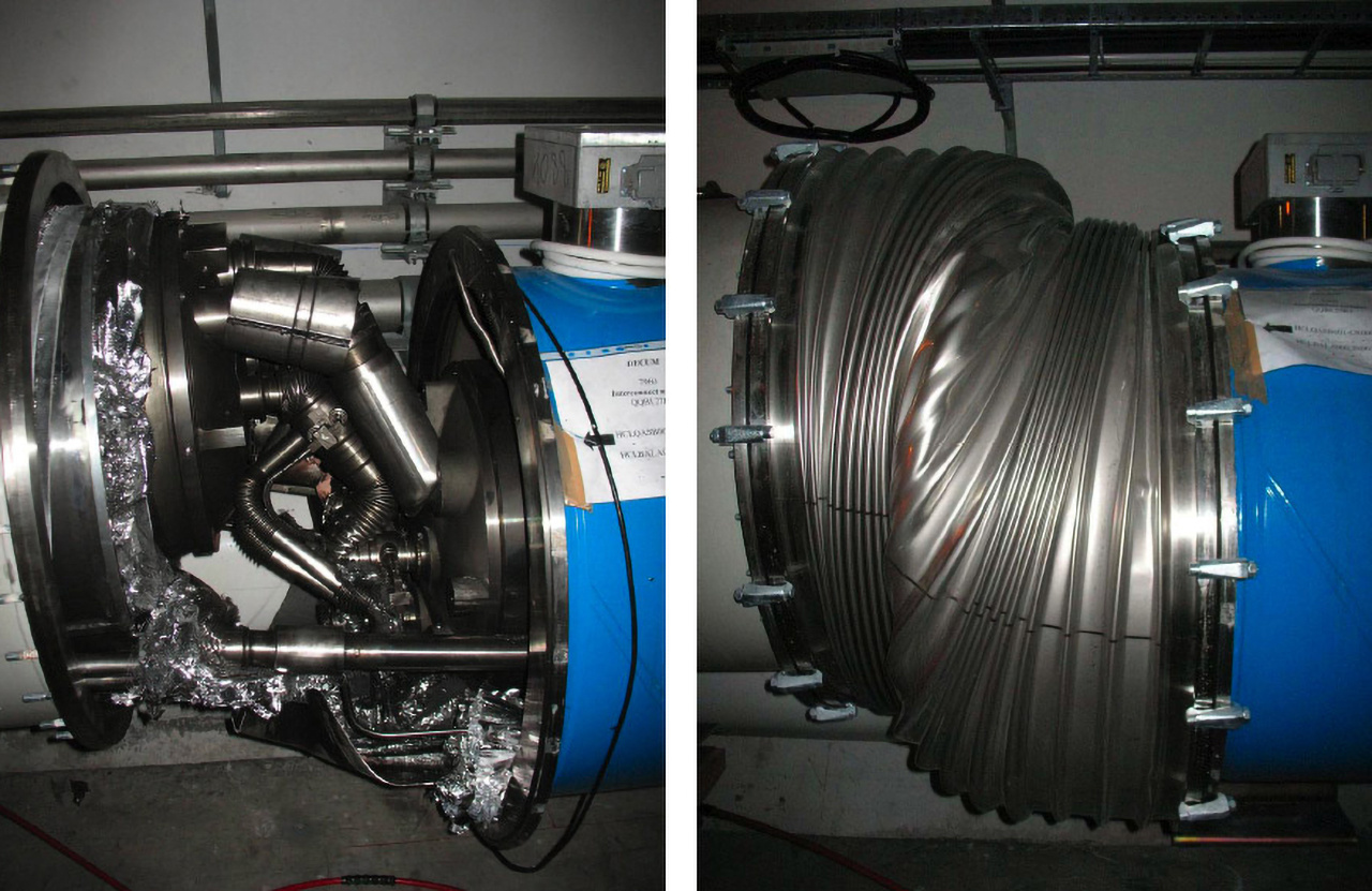 Az LHC-t 2008. szeptember 10-én üzembe helyezték, de kilenc nappal később üzemzavar miatt leállították. A 27 kilométeres gyorsítógyűrű két mágneselemének találkozásánál a vezérlő elektronika két vezetéke nem illeszkedett pontosan. A vezetéken megnőtt az ellenállás, ami heves elektromos kisülést eredményezett, és kilyukasztotta a mágneselem hűtéséért felelős csövet. Az ebből kiömlő folyékony, mínusz 271 fokos héliummal nem bírt el a túlfolyó szelep, így befolyt a vákuumkamrába, ez pedig olyan robbanáshoz vezetett, ami szétvetette a mágneselemeket.