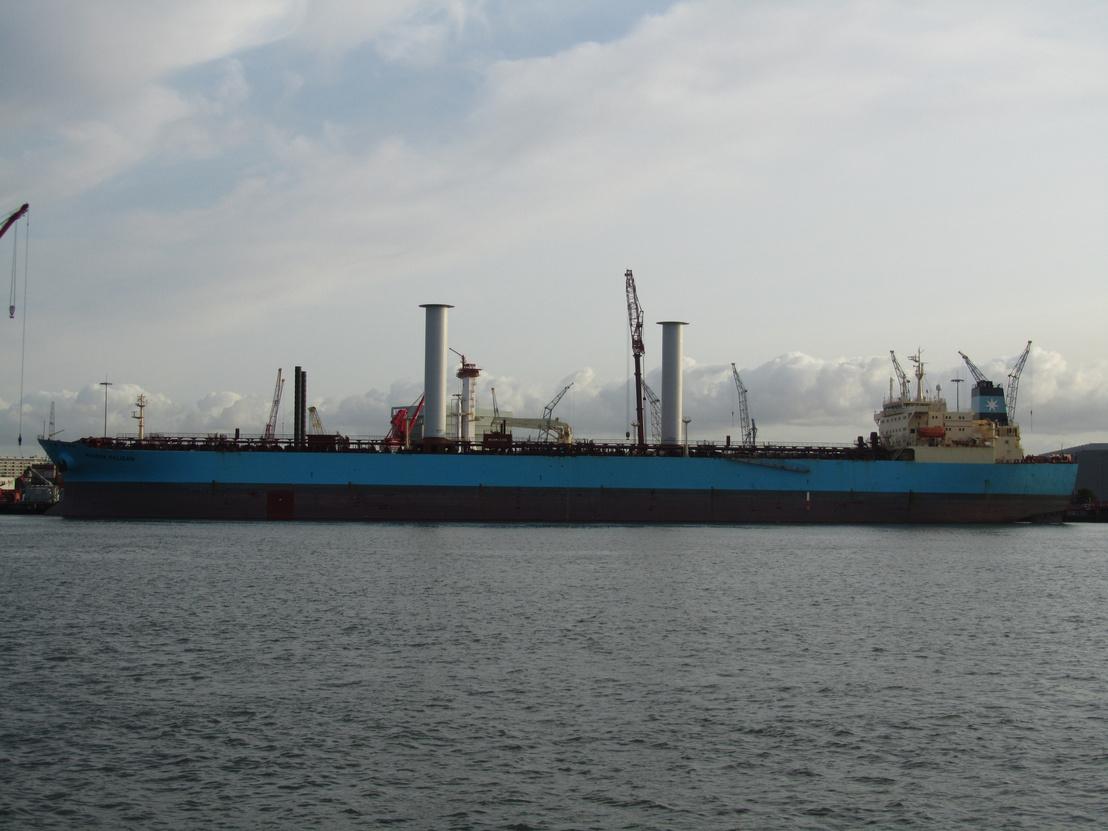 A két rotorral frissen felszerelt Pelican az amszterdami kikötőben 2018 augusztusában