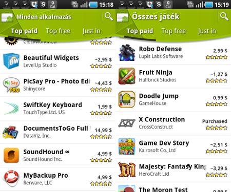 Az Android Marketen kiderül, mi tetszik a többieknek