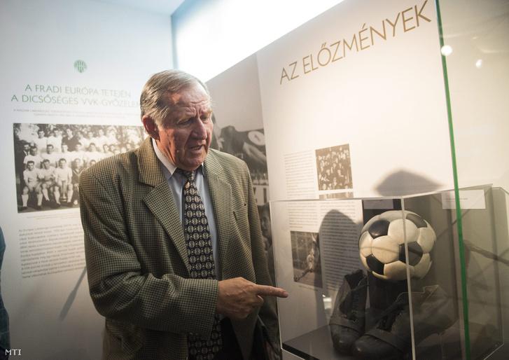 Géczi István a Ferencvárosi Torna Club 1965-ös Vásárvárosok Kupája-sikerének 50. évfordulója alkalmából rendezett ünnepségen a budapesti Groupama Arénában a Fradi Múzeumban 2015. június 23-án.