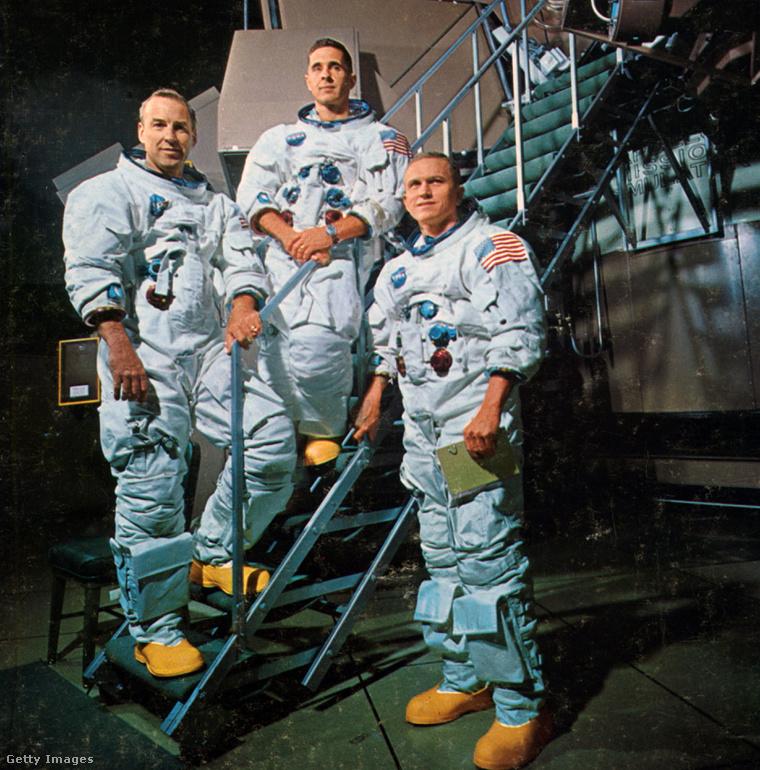 Balról jobbra: James A. Lovell Jr. (parancsnoki egység pilóta), William A. Anders (holdkomp pilóta) és Frank F. Borman II (parancsnok).