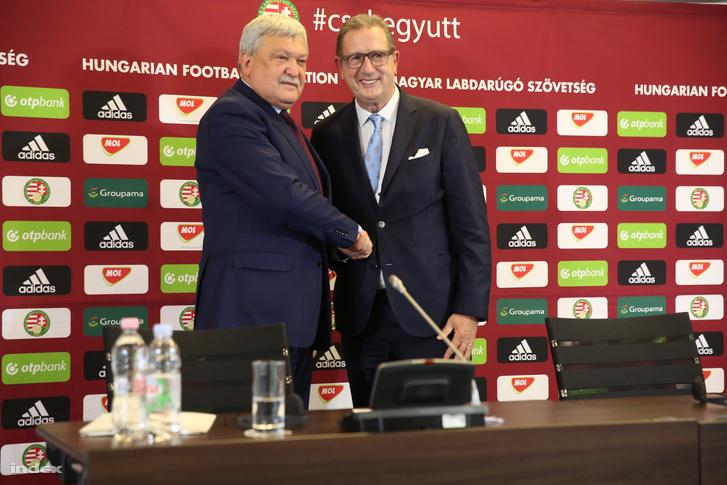 Csányi Sándor és Georges Leekens 2017 október 30-án, miután bejelentették, mint új szövetségi kapitány