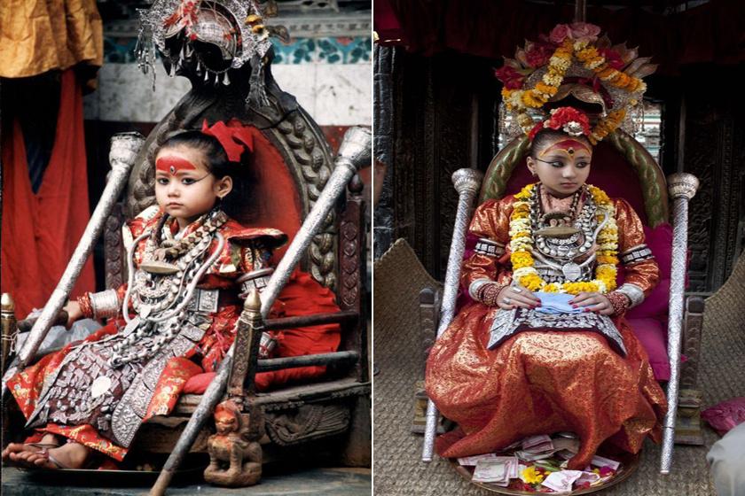 kumari nepál istennő trón