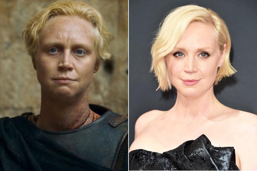 A Trónok harcából erőteljesen maszkulin nőként megismert Brienne, azaz Gwendoline Christie az életben nőies és gyönyörű. Karakterével csupán magasságuk egyezik, ugyanis a valóságban is 190 centi.