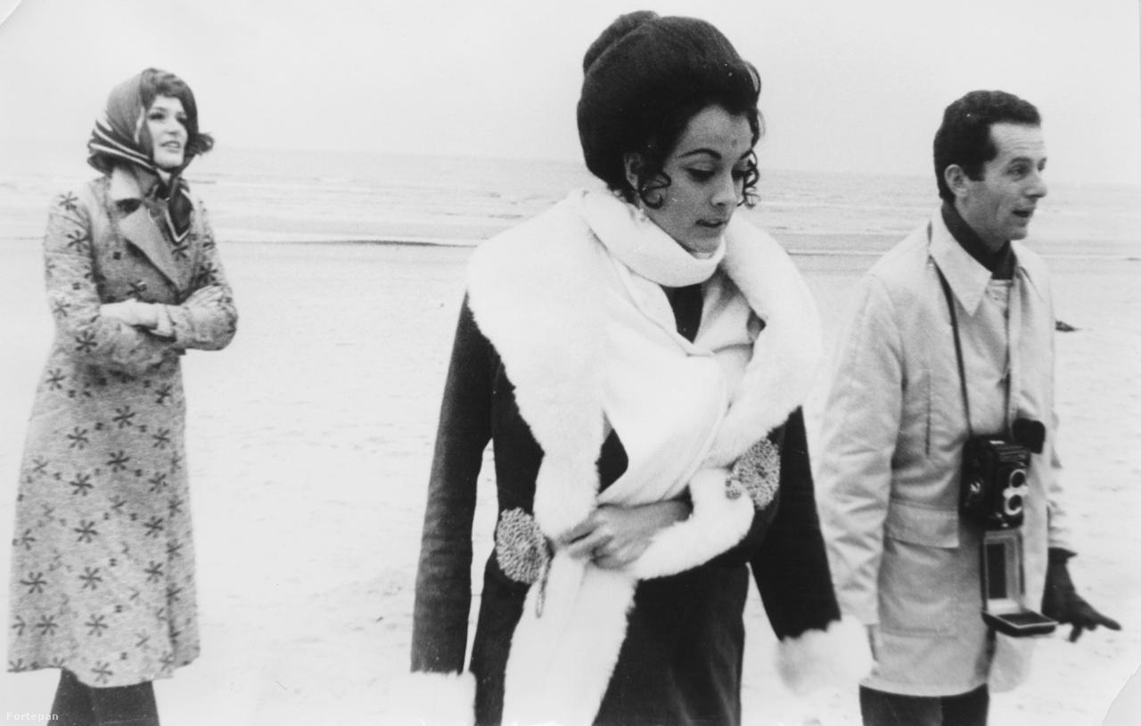 1970, Zám Edit és Csató Mari manökenek Schiffer Pál filmrendezővel munka közben