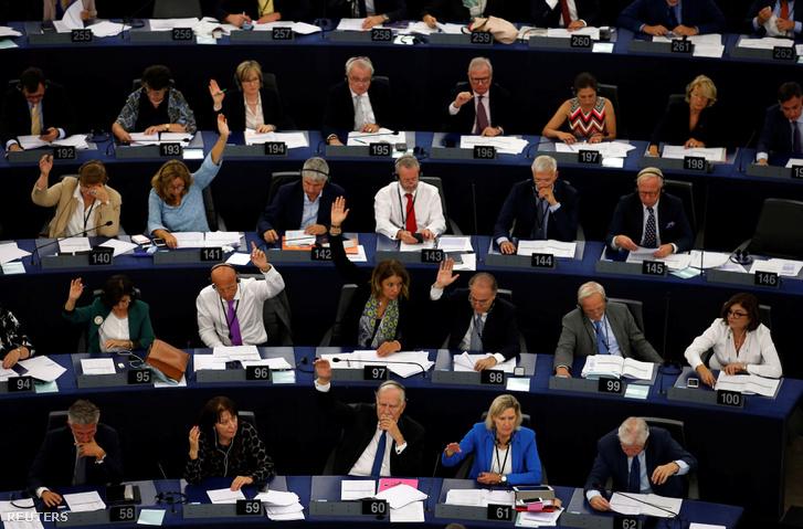A Sargentini-jelentésről szavaznak az Európai Parlamentben 2018. szeptember 12-én