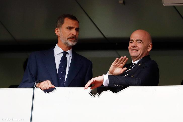 VI. Fülöp spanyol király és Gianni Infantino a FIFA elnöke a 2018-as világbajnokságon 2018. július 01-én, Moszkva, Oroszország