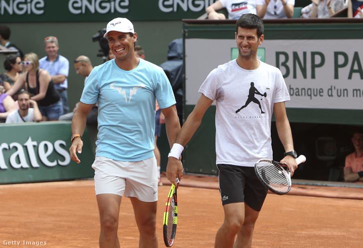 Novak Djokovics és Rafael Nadal a 2018-as Roland Garros Kid's Day elnevezésű rendezvényén 2018. május 26.