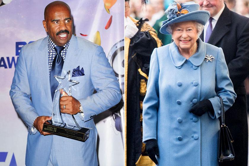 Ezt az égszínkék öltönyt Steve Harvey a 2011-es BET Awards díjátadó gálán viselte, Erzsébet királynőn ugyanezt az árnyalatot 2017 novemberében láthattuk.