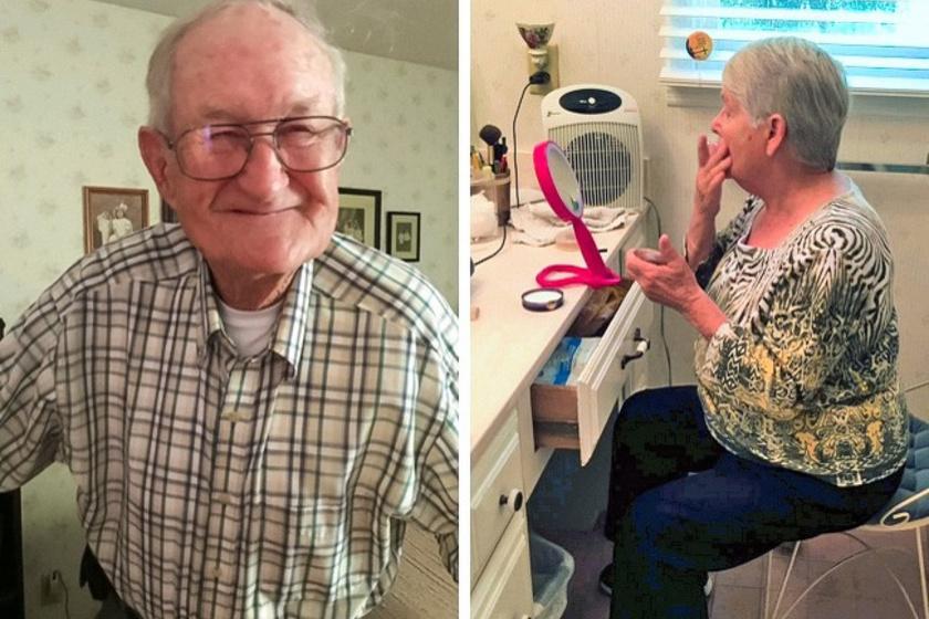 A nagypapa 93 éves, és, mióta együtt vannak, minden héten romantikus randevúra viszi a feleségét. Itt éppen készülődnek a kiruccanáshoz.
