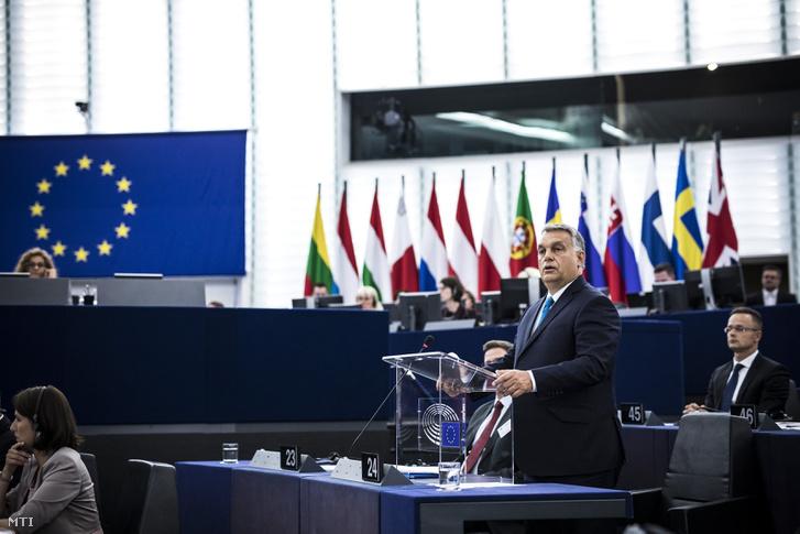 Orbán Viktor miniszterelnök felszólal az Európai Parlament vitáján 2018. szeptember 11-én.